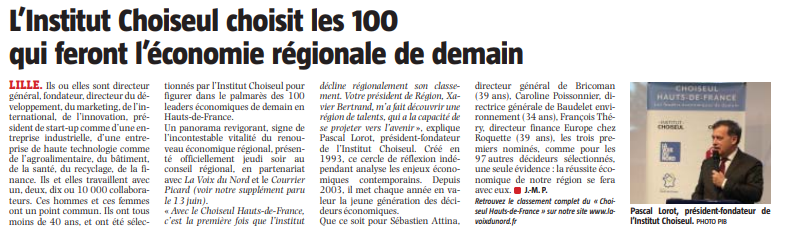 La Voix du Nord: Retour sur le dîner de lancement du Choiseul Hauts-de-France 2019