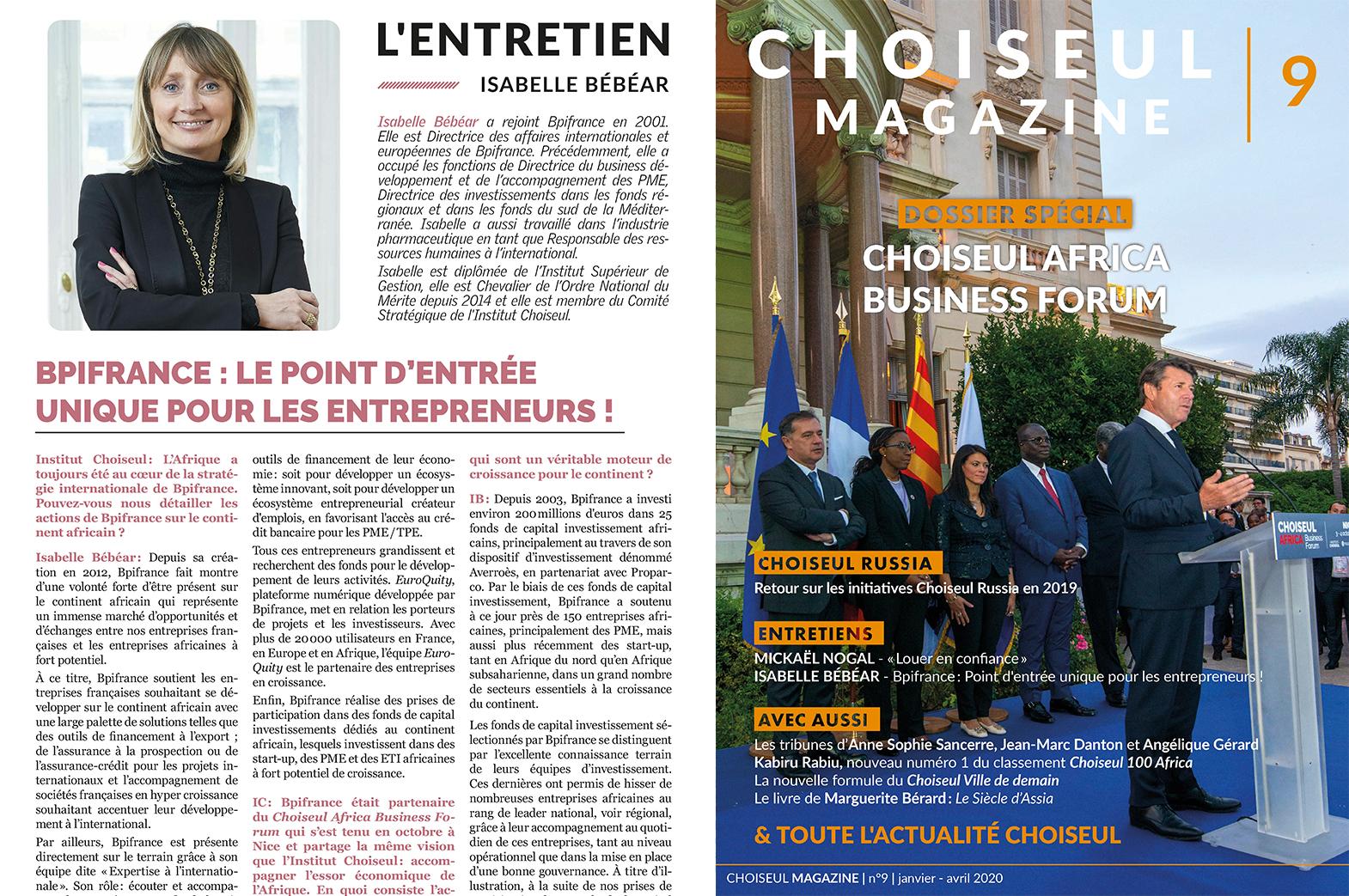 Choiseul Magazine – Bpifrance : le point d'entrée  unique pour les entrepreneurs ! Entretien avec Isabelle Bébéar