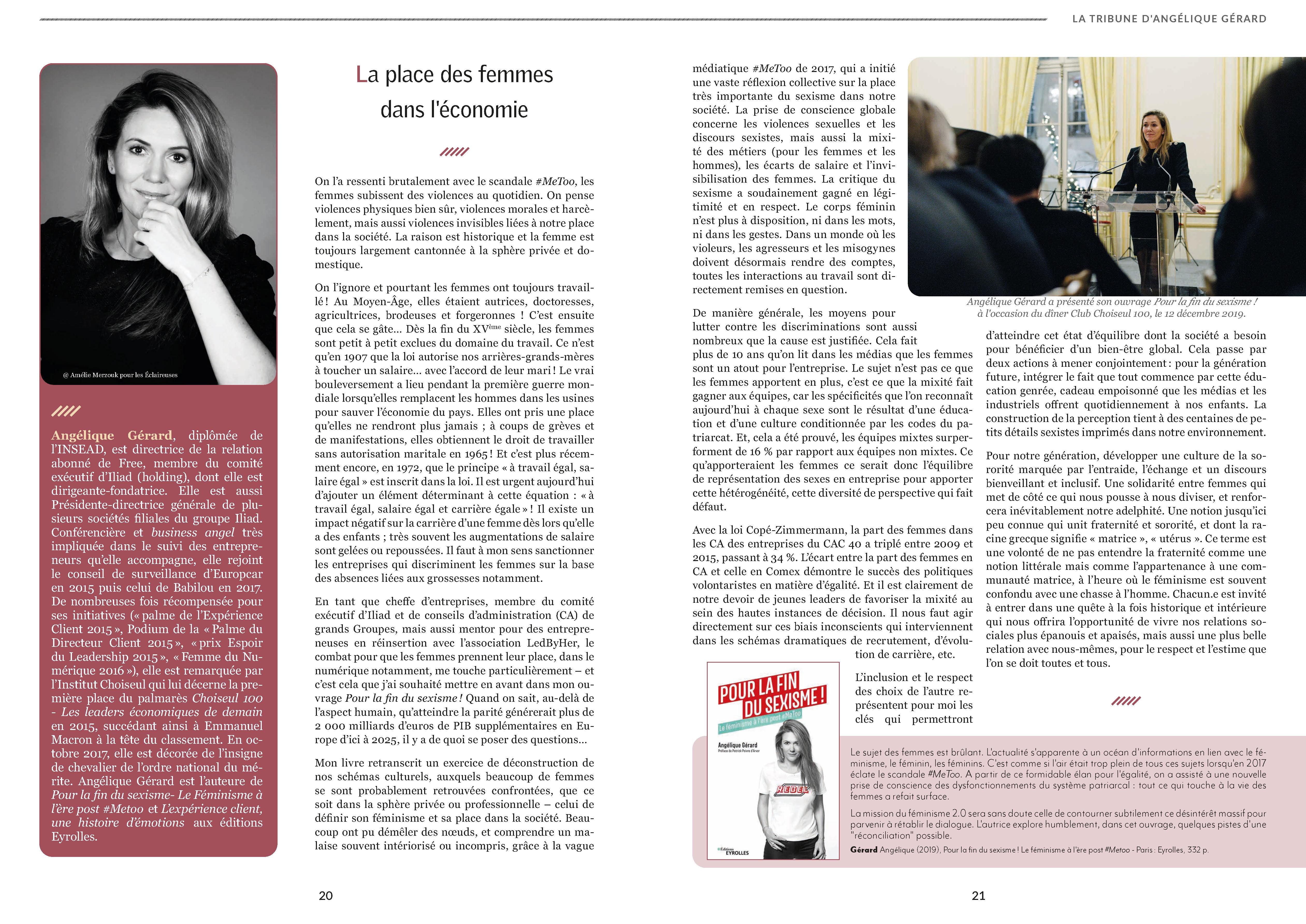 Choiseul Magazine – La place des femmes dans l'économie. La tribune d'Angélique Gérard.