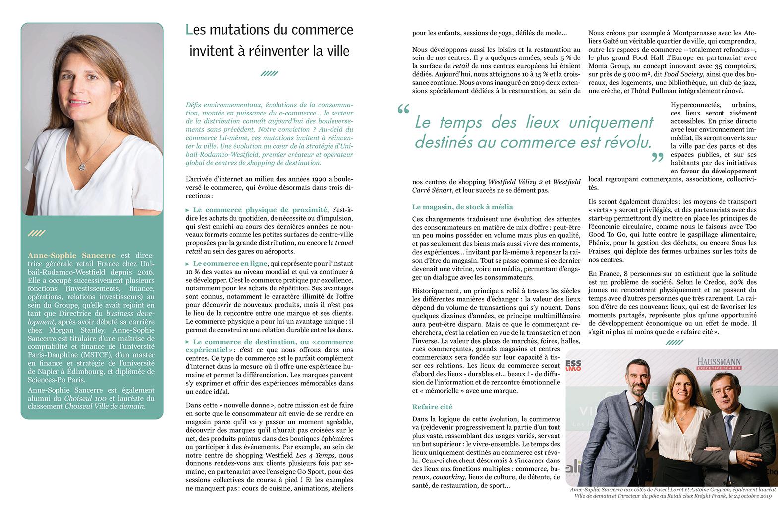 Choiseul Magazine – Les mutations du commerce invitent à réinventer la ville. La tribune d'Anne-Sophie Sancerre.